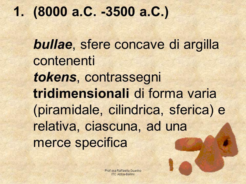 Prof.ssa Raffaella Guarino ITC Abba-Ballini 1.(8000 a.C. -3500 a.C.) bullae, sfere concave di argilla contenenti tokens, contrassegni tridimensionali