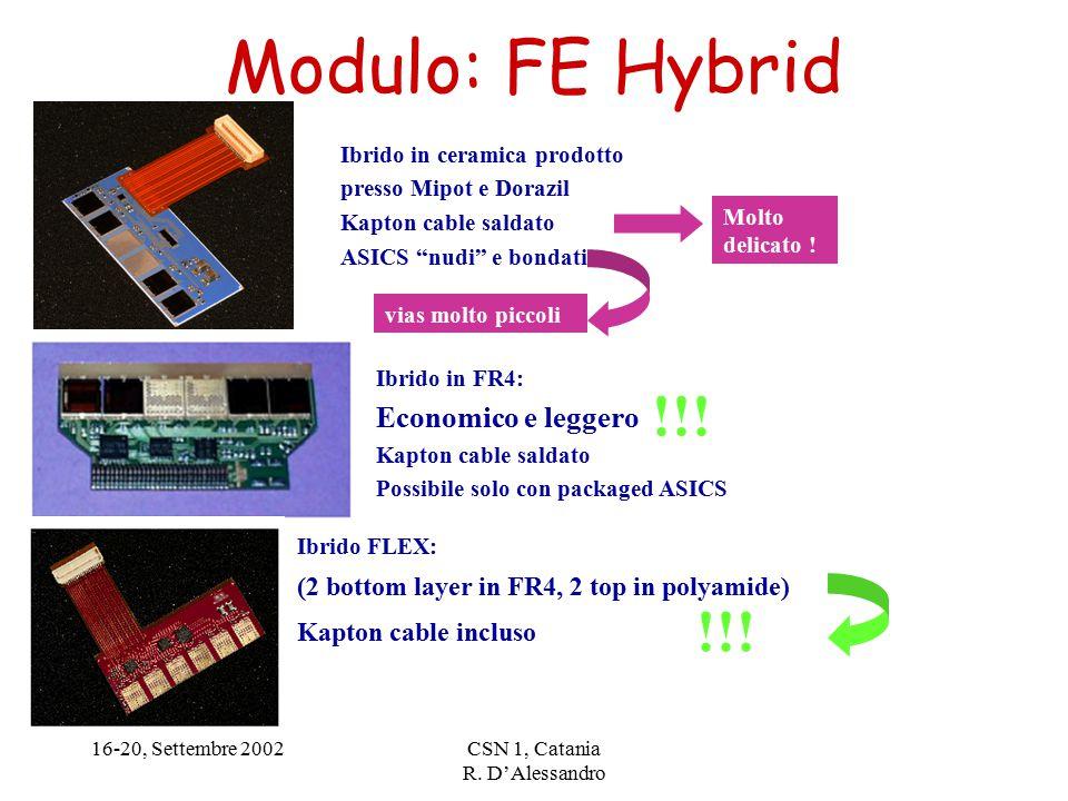 16-20, Settembre 2002CSN 1, Catania R. D'Alessandro Modulo: FE Hybrid !!.