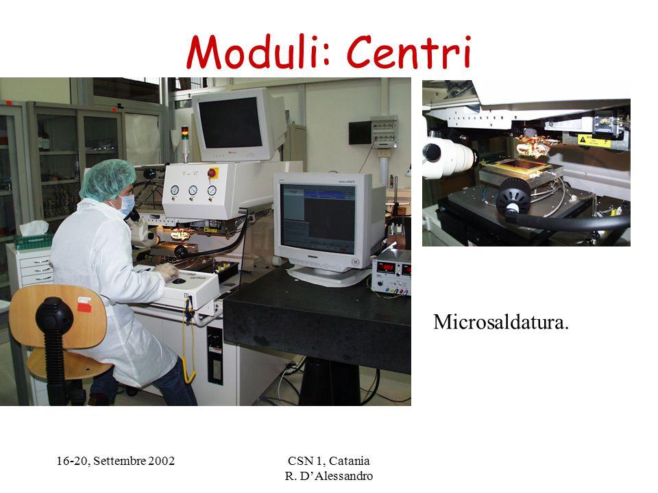 16-20, Settembre 2002CSN 1, Catania R. D'Alessandro Moduli: Centri Microsaldatura.