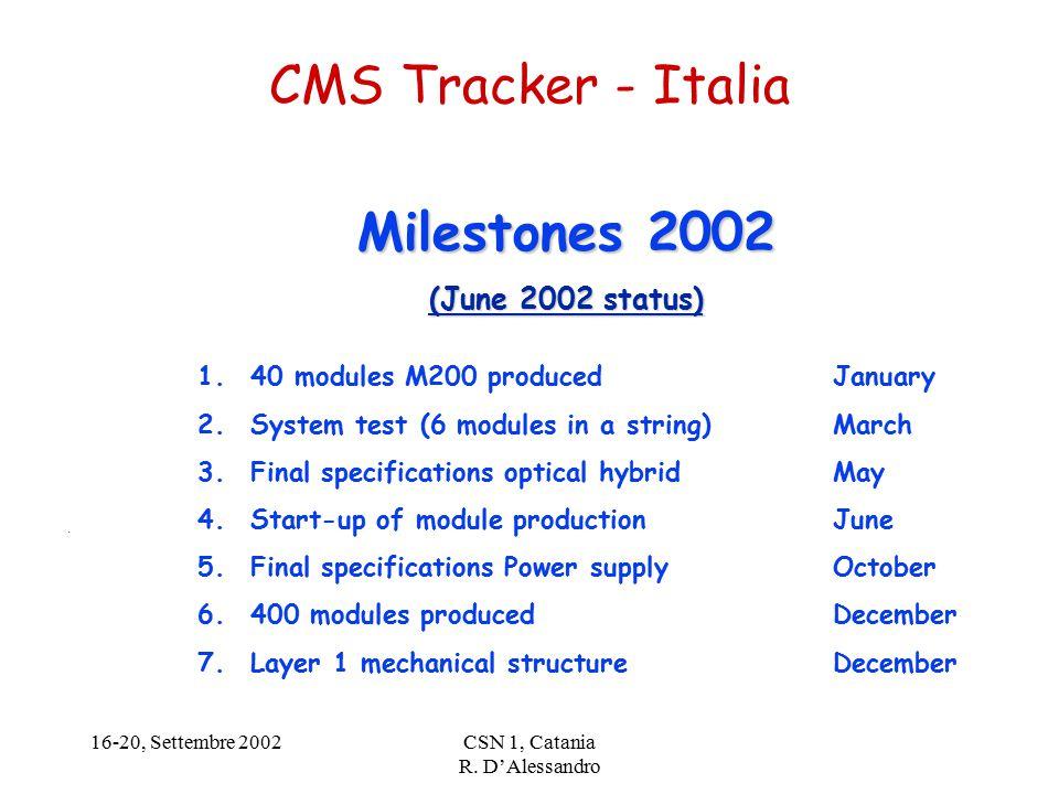 16-20, Settembre 2002CSN 1, Catania R. D'Alessandro CMS Tracker - Italia.