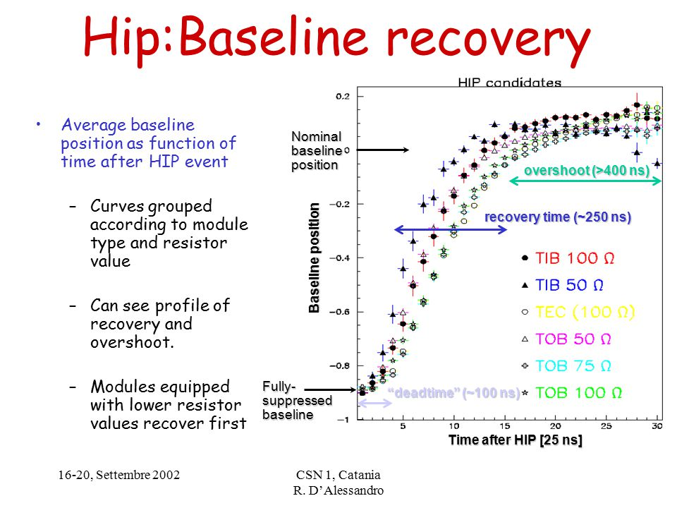 16-20, Settembre 2002CSN 1, Catania R. D'Alessandro Hip:Baseline recovery Average baseline position as function of time after HIP event –Curves groupe