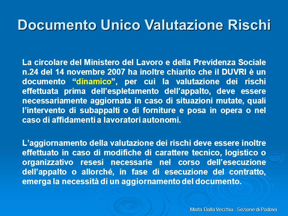Marta Dalla Vecchia - Sezione di Padova La circolare del Ministero del Lavoro e della Previdenza Sociale n.24 del 14 novembre 2007 ha inoltre chiarito