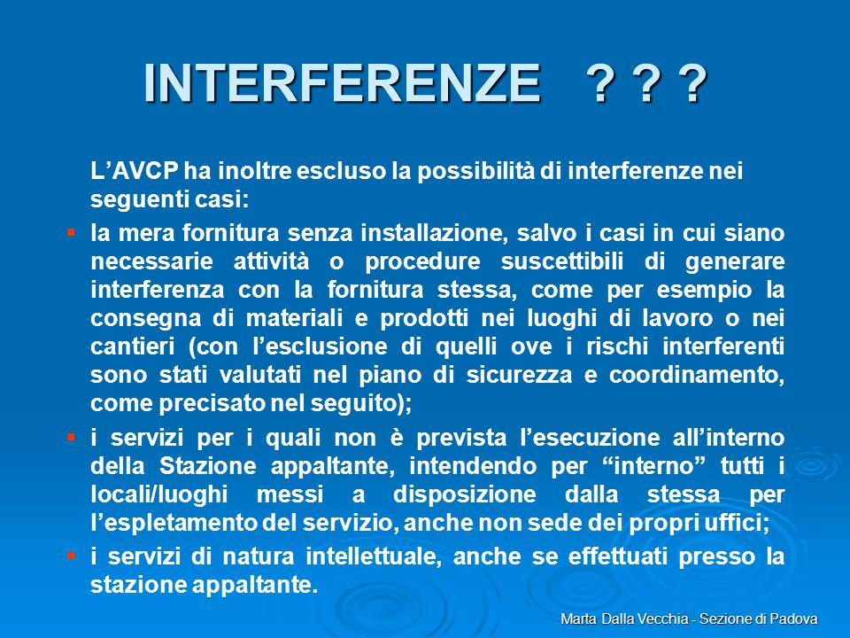 Marta Dalla Vecchia - Sezione di Padova INTERFERENZE ? ? ? L'AVCP ha inoltre escluso la possibilità di interferenze nei seguenti casi:   la mera for