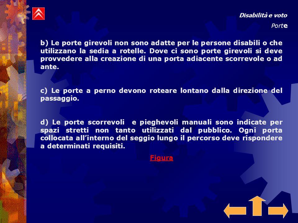 Disabilità e voto Port e b) Le porte girevoli non sono adatte per le persone disabili o che utilizzano la sedia a rotelle.