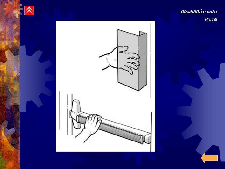e) Quando la porta è aperta a 90 gradi deve esserci uno spazio libero per un passaggio di almeno 80 centimetri.