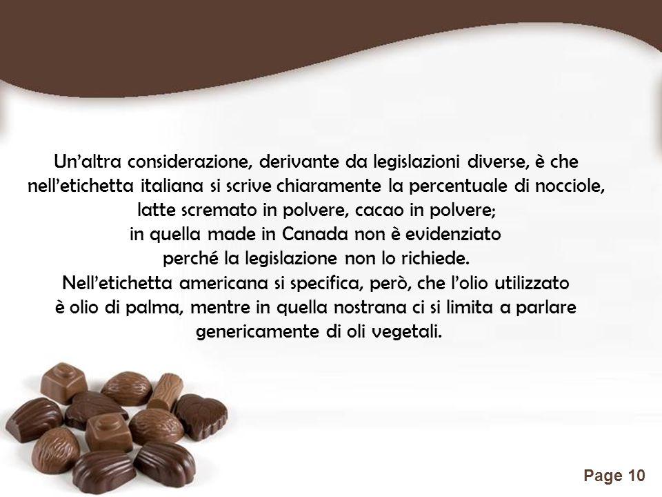Free Powerpoint Templates Page 10 Un'altra considerazione, derivante da legislazioni diverse, è che nell'etichetta italiana si scrive chiaramente la percentuale di nocciole, latte scremato in polvere, cacao in polvere; in quella made in Canada non è evidenziato perché la legislazione non lo richiede.