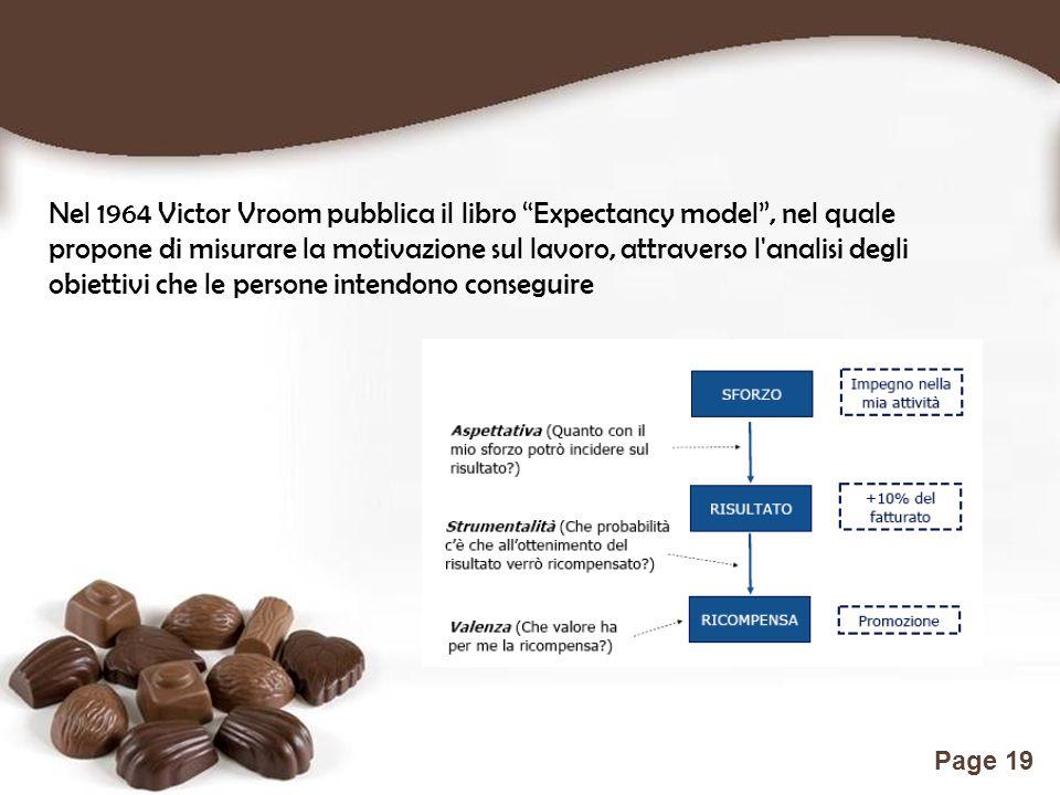 Free Powerpoint Templates Page 19 Nel 1964 Victor Vroom pubblica il libro Expectancy model , nel quale propone di misurare la motivazione sul lavoro, attraverso l analisi degli obiettivi che le persone intendono conseguire