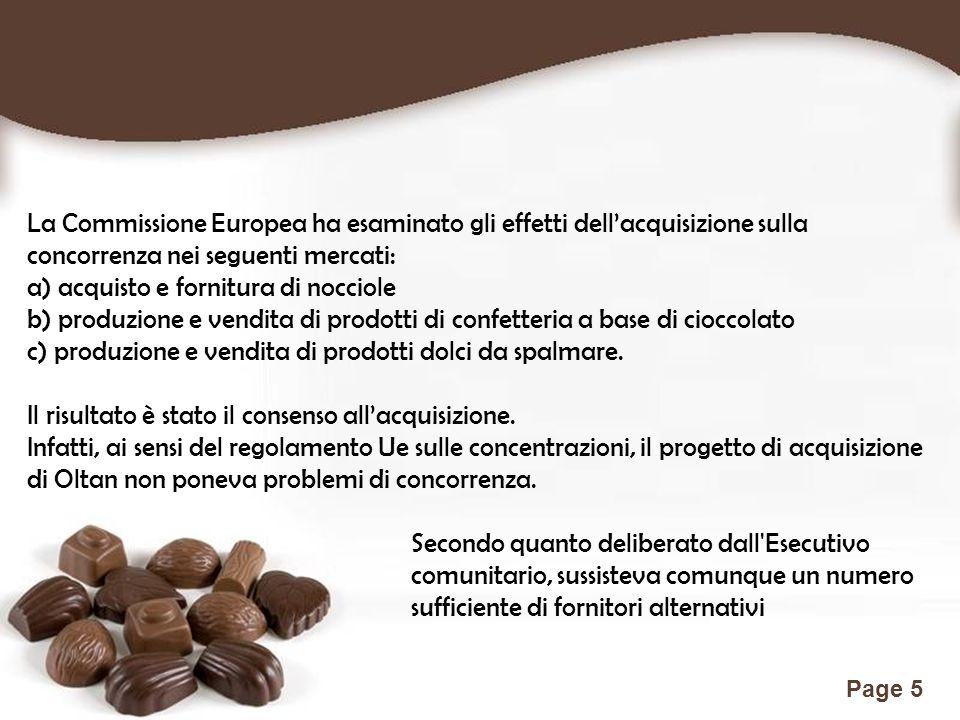 Free Powerpoint Templates Page 5 La Commissione Europea ha esaminato gli effetti dell'acquisizione sulla concorrenza nei seguenti mercati: a) acquisto e fornitura di nocciole b) produzione e vendita di prodotti di confetteria a base di cioccolato c) produzione e vendita di prodotti dolci da spalmare.