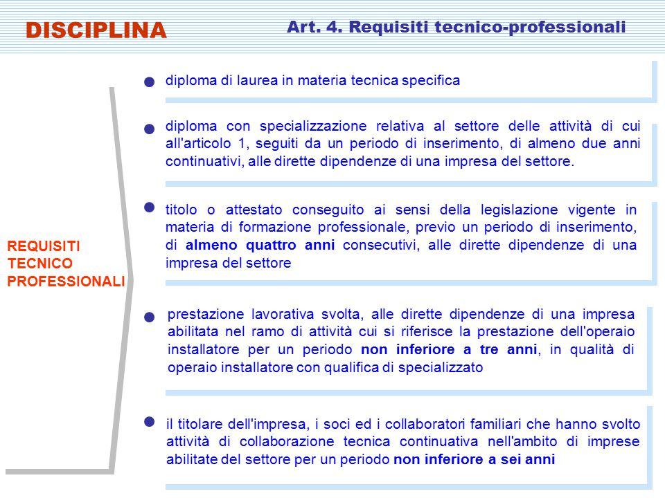 diploma con specializzazione relativa al settore delle attività di cui all articolo 1, seguiti da un periodo di inserimento, di almeno due anni continuativi, alle dirette dipendenze di una impresa del settore.