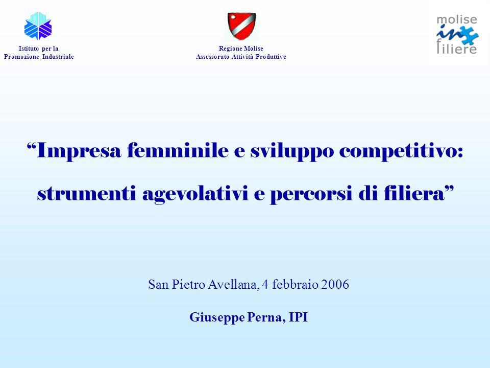 """""""Impresa femminile e sviluppo competitivo: strumenti agevolativi e percorsi di filiera"""" Istituto per la Promozione Industriale Regione Molise Assessor"""