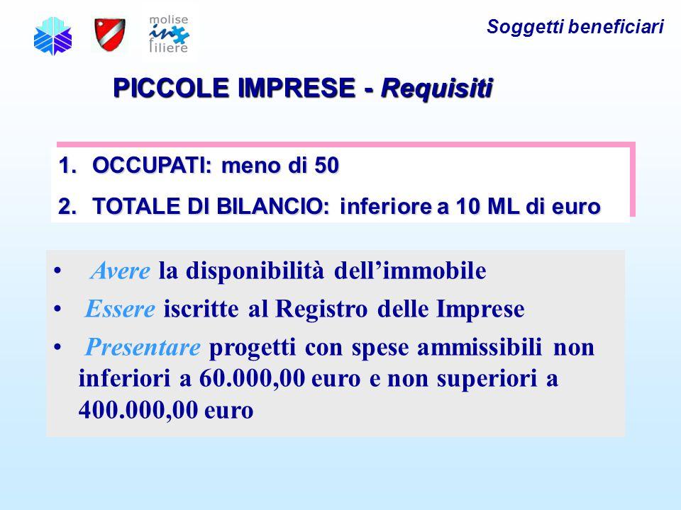 Soggetti beneficiari PICCOLE IMPRESE - Requisiti 1.OCCUPATI: meno di 50 2.TOTALE DI BILANCIO: inferiore a 10 ML di euro 1.OCCUPATI: meno di 50 2.TOTALE DI BILANCIO: inferiore a 10 ML di euro Avere la disponibilità dell'immobile Essere iscritte al Registro delle Imprese Presentare progetti con spese ammissibili non inferiori a 60.000,00 euro e non superiori a 400.000,00 euro