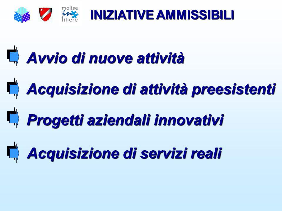 INIZIATIVE AMMISSIBILI Avvio di nuove attività Acquisizione di attività preesistenti Progetti aziendali innovativi Acquisizione di servizi reali