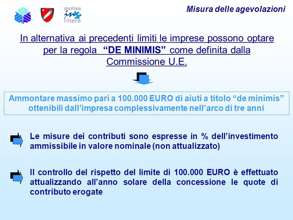 Misura delle agevolazioni In alternativa ai precedenti limiti le imprese possono optare per la regola DE MINIMIS come definita dalla Commissione U.E.