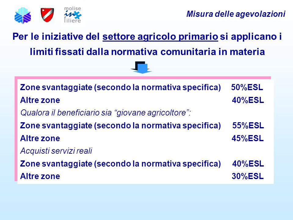 """Zone svantaggiate (secondo la normativa specifica) 50%ESL Altre zone 40%ESL Qualora il beneficiario sia """"giovane agricoltore"""": Zone svantaggiate (seco"""