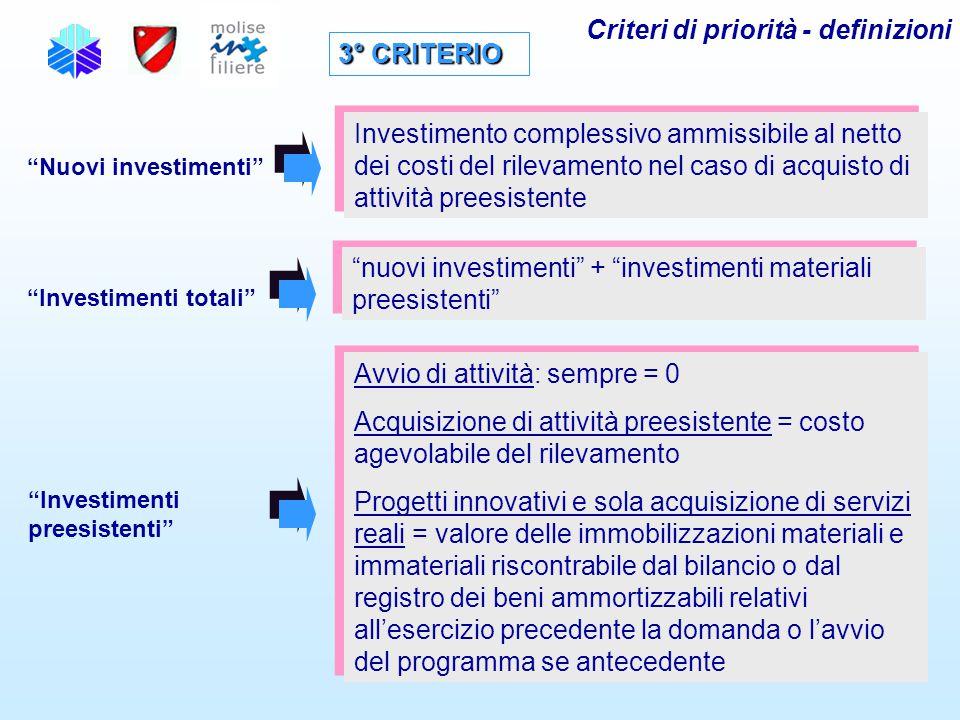 """3° CRITERIO """"Nuovi investimenti"""" Investimento complessivo ammissibile al netto dei costi del rilevamento nel caso di acquisto di attività preesistente"""