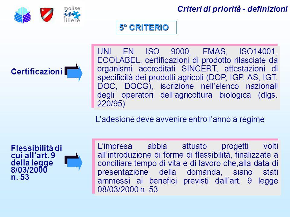 5° CRITERIO Certificazioni UNI EN ISO 9000, EMAS, ISO14001, ECOLABEL, certificazioni di prodotto rilasciate da organismi accreditati SINCERT, attestaz