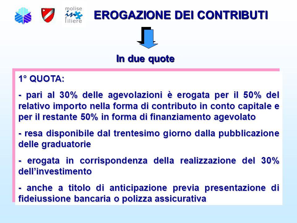 EROGAZIONE DEI CONTRIBUTI In due quote 1° QUOTA: - pari al 30% delle agevolazioni è erogata per il 50% del relativo importo nella forma di contributo