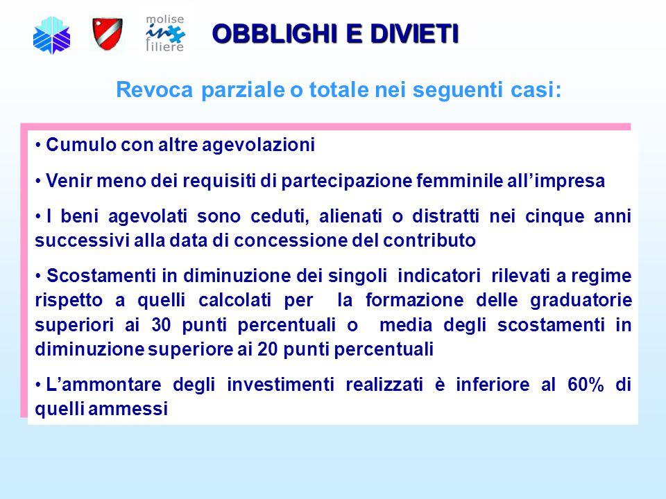 OBBLIGHI E DIVIETI Revoca parziale o totale nei seguenti casi: Cumulo con altre agevolazioni Venir meno dei requisiti di partecipazione femminile all'