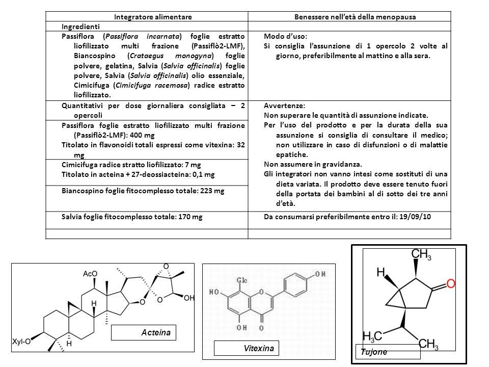 Integratore alimentareBenessere nell'età della menopausa Ingredienti Passiflora (Passiflora incarnata) foglie estratto liofilizzato multi frazione (Pa