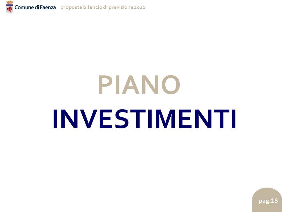 proposta bilancio di previsione 2012 pag.16 PIANO INVESTIMENTI