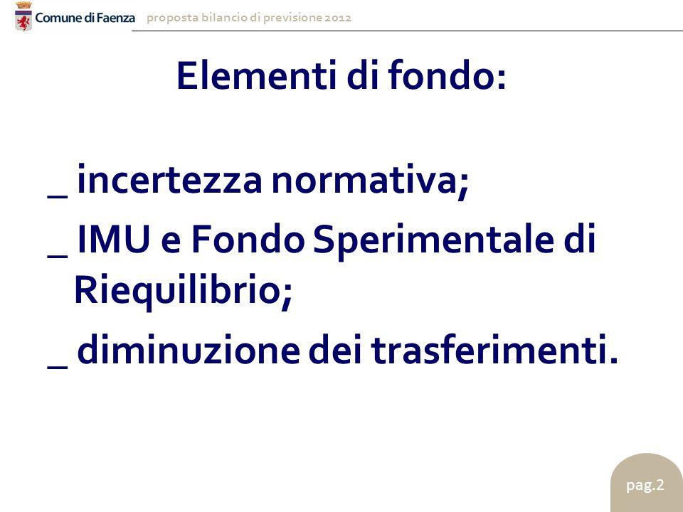 proposta bilancio di previsione 2012 pag.2 Elementi di fondo: _ incertezza normativa; _ IMU e Fondo Sperimentale di Riequilibrio; _ diminuzione dei trasferimenti.