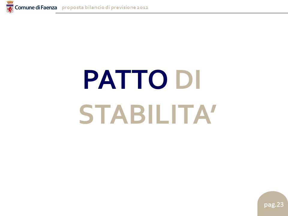 proposta bilancio di previsione 2012 pag.23 PATTO DI STABILITA'