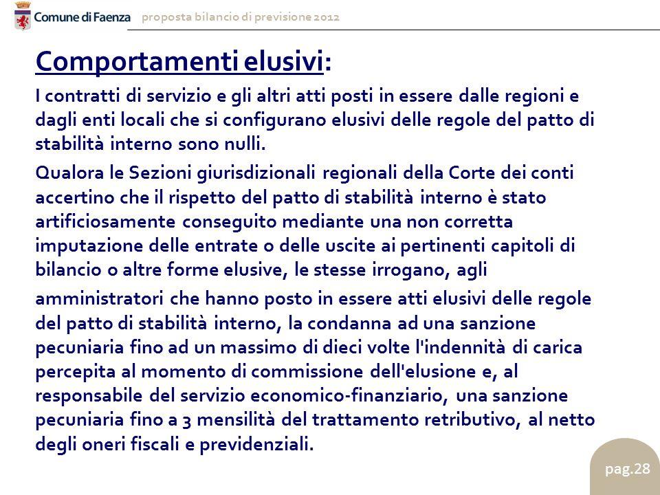 proposta bilancio di previsione 2012 pag.28 Comportamenti elusivi: I contratti di servizio e gli altri atti posti in essere dalle regioni e dagli enti locali che si configurano elusivi delle regole del patto di stabilità interno sono nulli.
