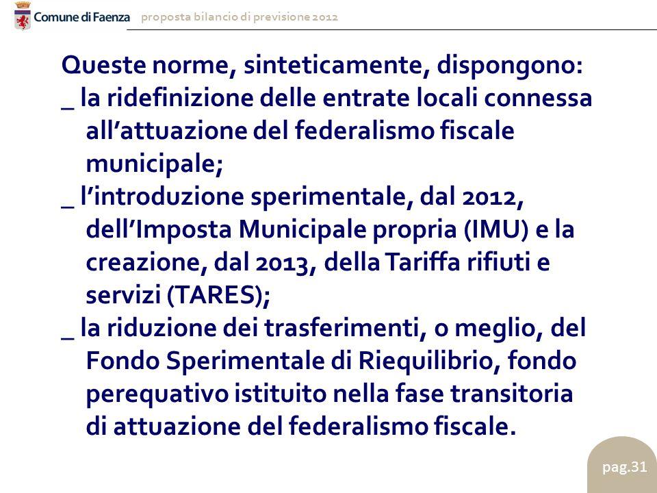 proposta bilancio di previsione 2012 pag.31 Queste norme, sinteticamente, dispongono: _ la ridefinizione delle entrate locali connessa all'attuazione del federalismo fiscale municipale; _ l'introduzione sperimentale, dal 2012, dell'Imposta Municipale propria (IMU) e la creazione, dal 2013, della Tariffa rifiuti e servizi (TARES); _ la riduzione dei trasferimenti, o meglio, del Fondo Sperimentale di Riequilibrio, fondo perequativo istituito nella fase transitoria di attuazione del federalismo fiscale.