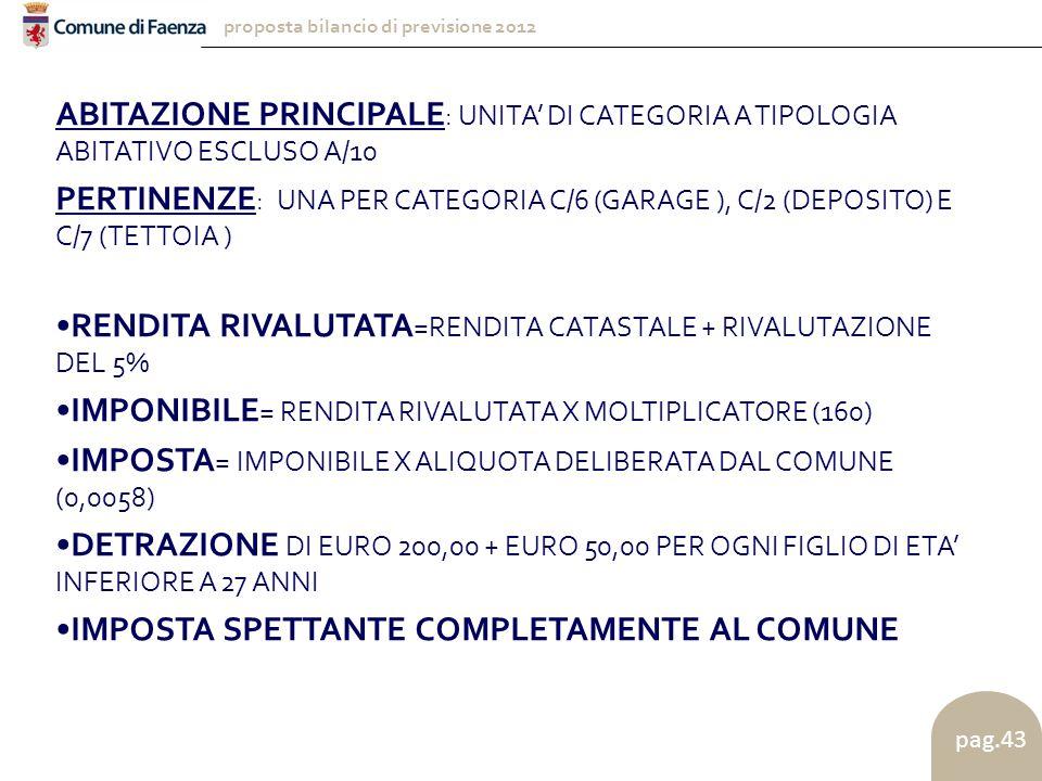 proposta bilancio di previsione 2012 pag.43 ABITAZIONE PRINCIPALE : UNITA' DI CATEGORIA A TIPOLOGIA ABITATIVO ESCLUSO A/10 PERTINENZE : UNA PER CATEGORIA C/6 (GARAGE ), C/2 (DEPOSITO) E C/7 (TETTOIA ) RENDITA RIVALUTATA =RENDITA CATASTALE + RIVALUTAZIONE DEL 5% IMPONIBILE = RENDITA RIVALUTATA X MOLTIPLICATORE (160) IMPOSTA = IMPONIBILE X ALIQUOTA DELIBERATA DAL COMUNE (0,0058) DETRAZIONE DI EURO 200,00 + EURO 50,00 PER OGNI FIGLIO DI ETA' INFERIORE A 27 ANNI IMPOSTA SPETTANTE COMPLETAMENTE AL COMUNE