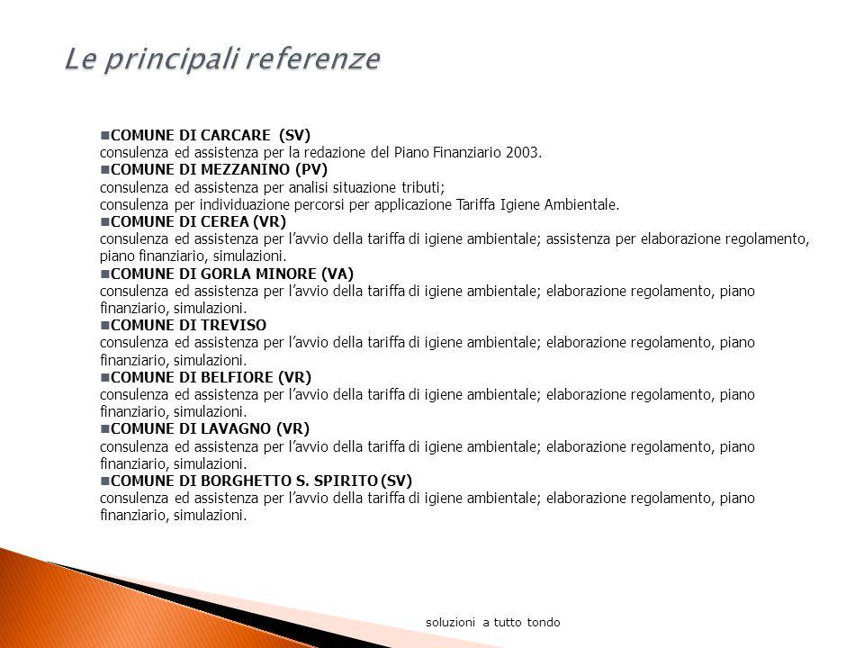 soluzioni a tutto tondo COMUNE DI CARCARE (SV) consulenza ed assistenza per la redazione del Piano Finanziario 2003.