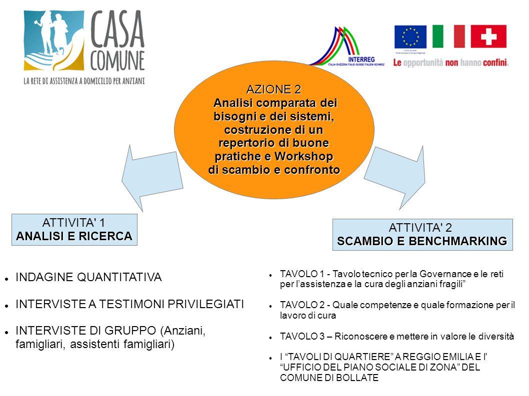 AZIONE 2 Analisi comparata dei bisogni e dei sistemi, costruzione di un repertorio di buone pratiche e Workshop di scambio e confronto Analisi compara