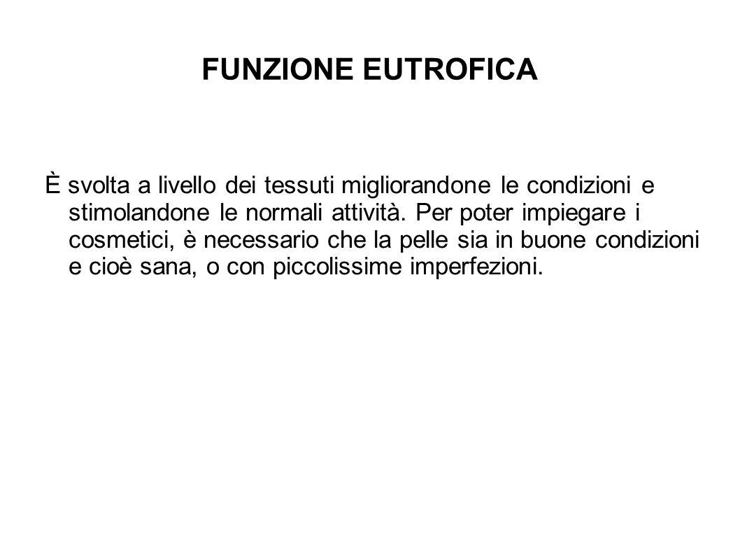 FUNZIONE EUTROFICA È svolta a livello dei tessuti migliorandone le condizioni e stimolandone le normali attività.