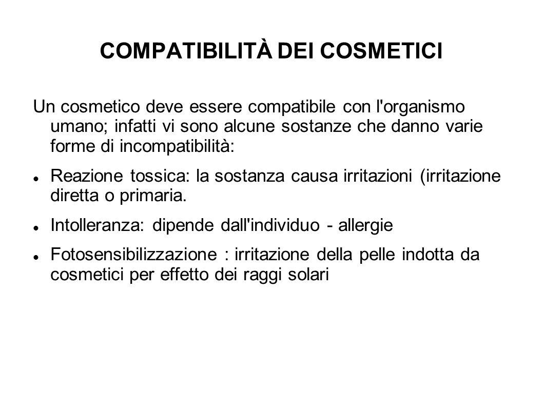 COMPATIBILITÀ DEI COSMETICI Un cosmetico deve essere compatibile con l'organismo umano; infatti vi sono alcune sostanze che danno varie forme di incom