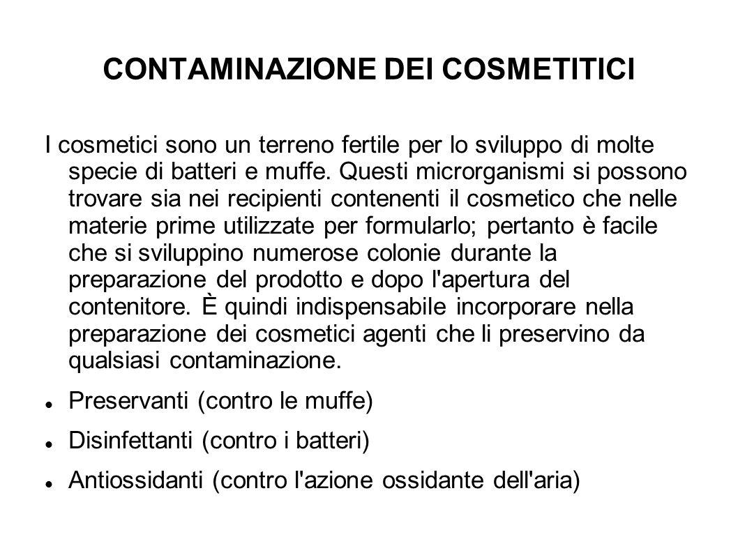 CONTAMINAZIONE DEI COSMETITICI I cosmetici sono un terreno fertile per lo sviluppo di molte specie di batteri e muffe. Questi microrganismi si possono