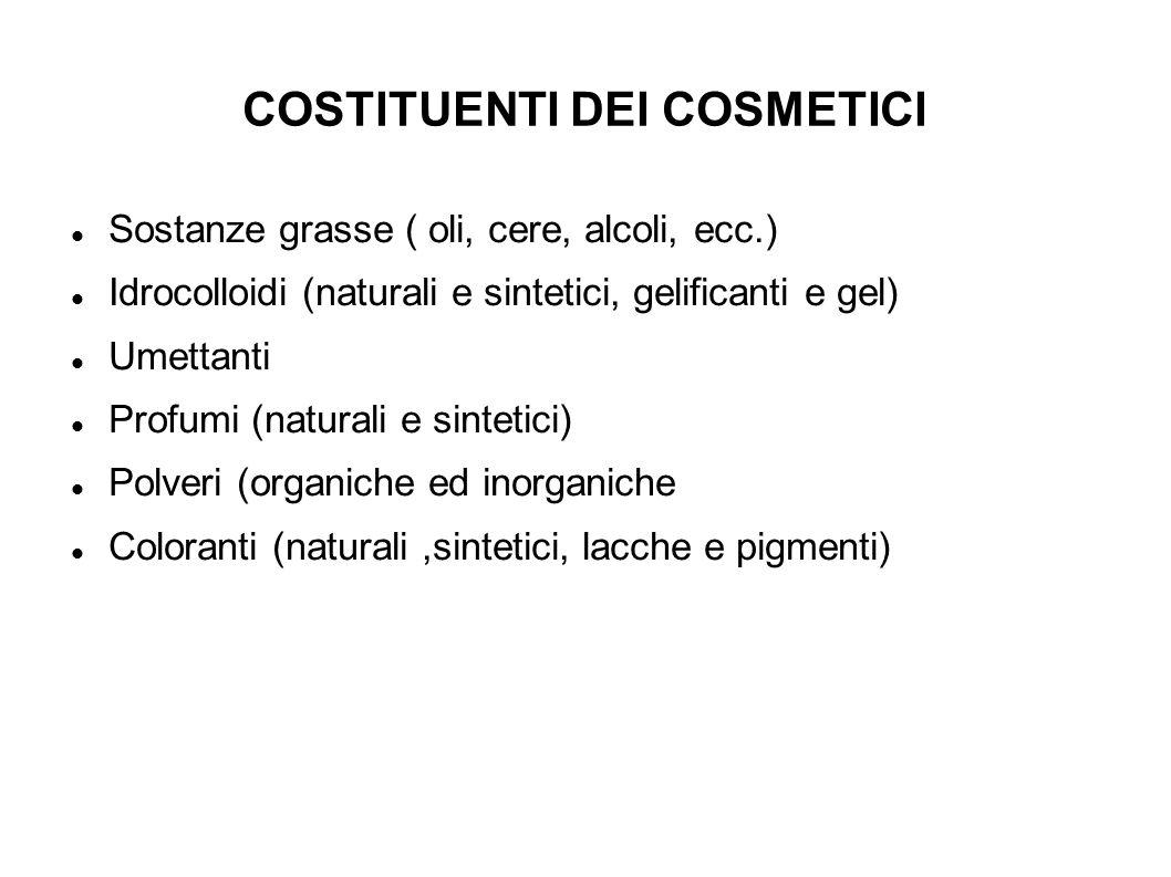 COSTITUENTI DEI COSMETICI Sostanze grasse ( oli, cere, alcoli, ecc.) Idrocolloidi (naturali e sintetici, gelificanti e gel) Umettanti Profumi (natural