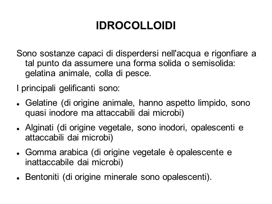IDROCOLLOIDI Sono sostanze capaci di disperdersi nell acqua e rigonfiare a tal punto da assumere una forma solida o semisolida: gelatina animale, colla di pesce.