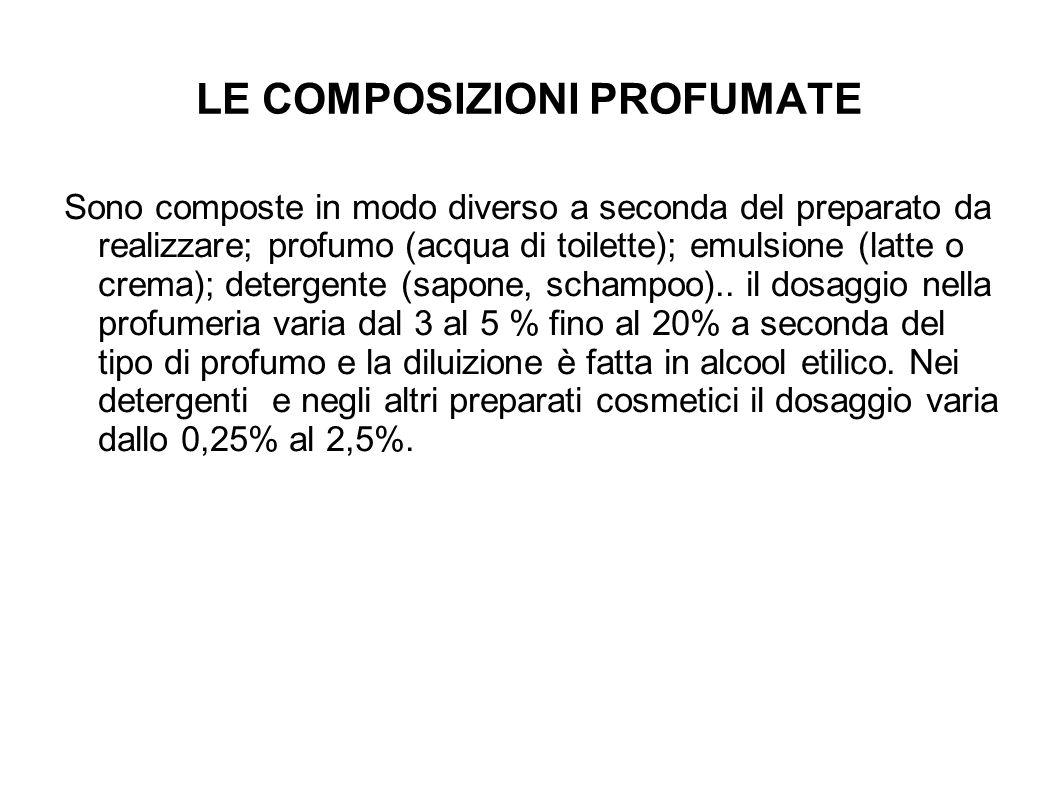 LE COMPOSIZIONI PROFUMATE Sono composte in modo diverso a seconda del preparato da realizzare; profumo (acqua di toilette); emulsione (latte o crema); detergente (sapone, schampoo)..