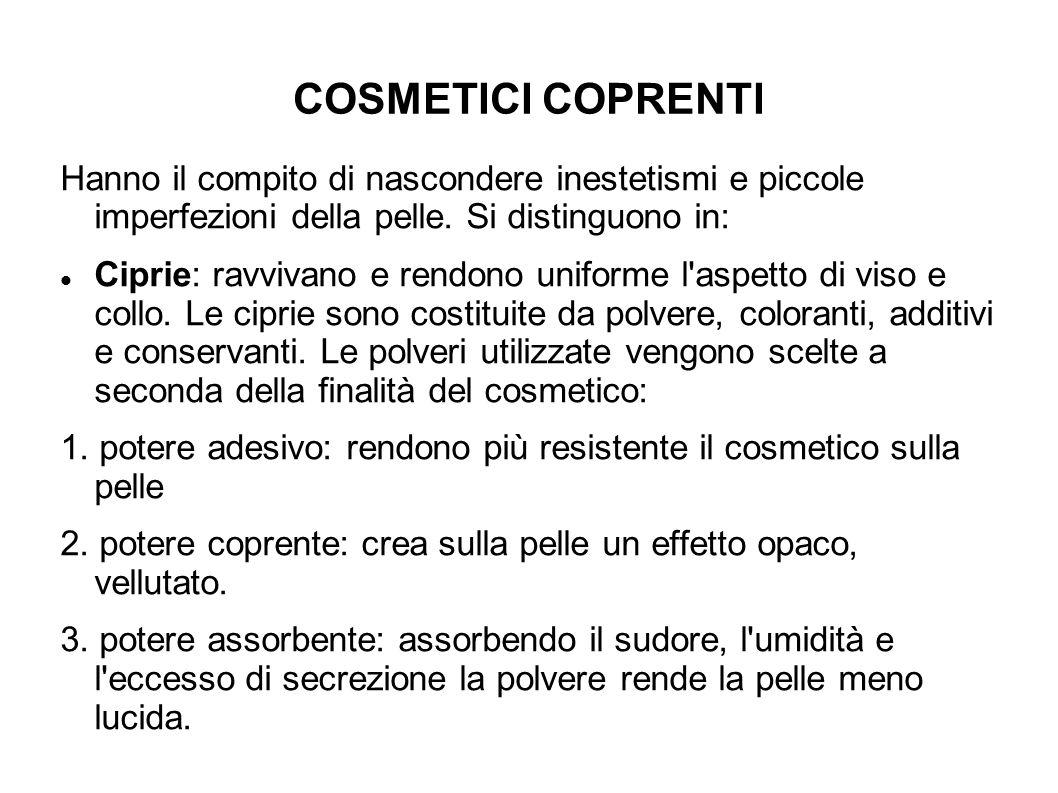 COSMETICI COPRENTI Hanno il compito di nascondere inestetismi e piccole imperfezioni della pelle.