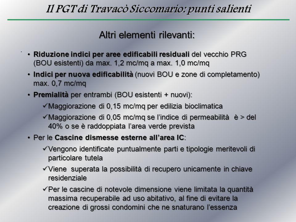 Il PGT di Travacò Siccomario: punti salienti. Altri elementi rilevanti: Riduzione indici per aree edificabili residuali del vecchio PRG (BOU esistenti