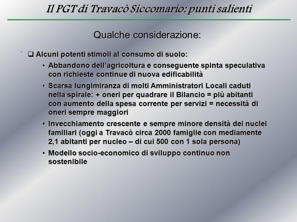 Il PGT di Travacò Siccomario: punti salienti. Qualche considerazione:  Alcuni potenti stimoli al consumo di suolo: Abbandono dell'agricoltura e conse