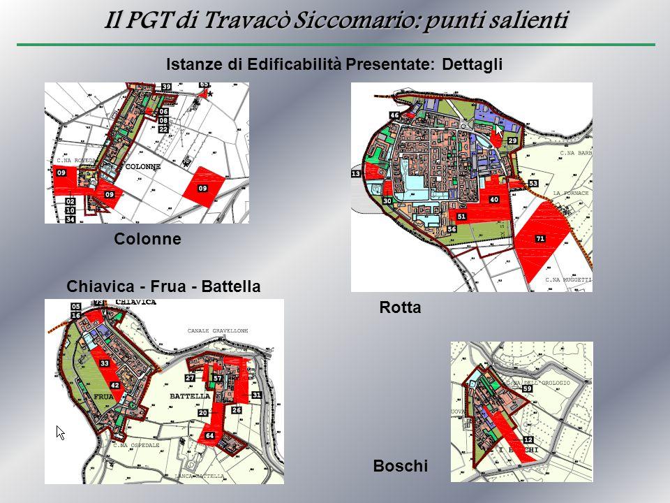 Il PGT di Travacò Siccomario: punti salienti Istanze di Edificabilità Presentate: Dettagli Colonne Chiavica - Frua - Battella Boschi Rotta