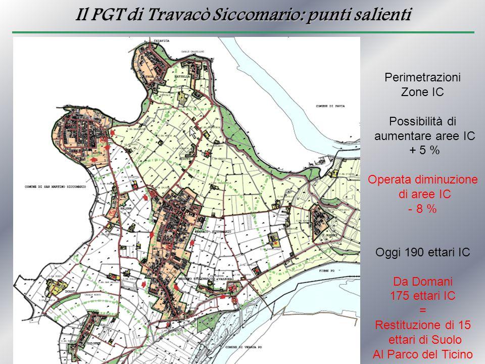 Il PGT di Travacò Siccomario: punti salienti Perimetrazioni Zone IC Possibilità di aumentare aree IC + 5 % Operata diminuzione di aree IC - 8 % Oggi 1