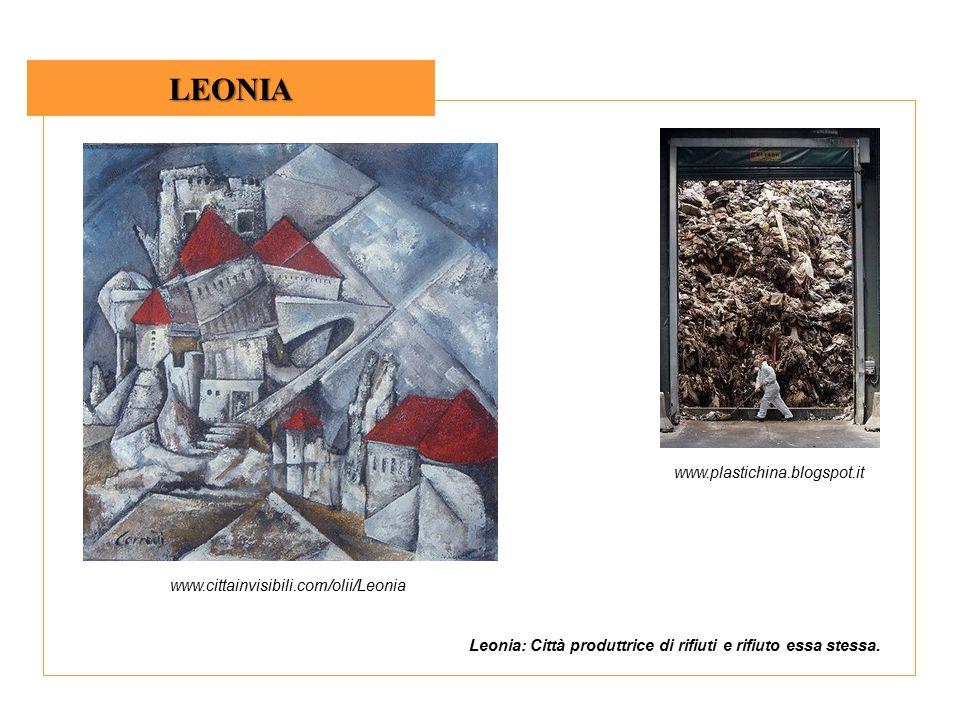 LEONIA www.plastichina.blogspot.it www.cittainvisibili.com/olii/Leonia Leonia: Città produttrice di rifiuti e rifiuto essa stessa.