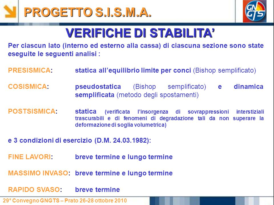 29° Convegno GNGTS – Prato 26-28 ottobre 2010 VERIFICHE DI STABILITA' PROGETTO S.I.S.M.A. Per ciascun lato (interno ed esterno alla cassa) di ciascuna