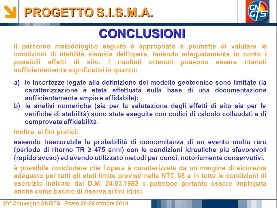 29° Convegno GNGTS – Prato 26-28 ottobre 2010 CONCLUSIONI PROGETTO S.I.S.M.A. Il percorso metodologico seguito è appropriato e permette di valutare le