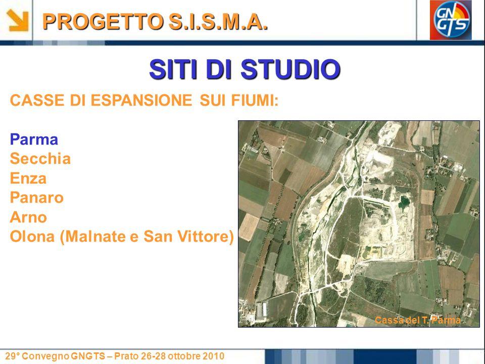 29° Convegno GNGTS – Prato 26-28 ottobre 2010 SITI DI STUDIO CASSE DI ESPANSIONE SUI FIUMI: Parma Secchia Enza Panaro Arno Olona (Malnate e San Vittore) PROGETTO S.I.S.M.A.