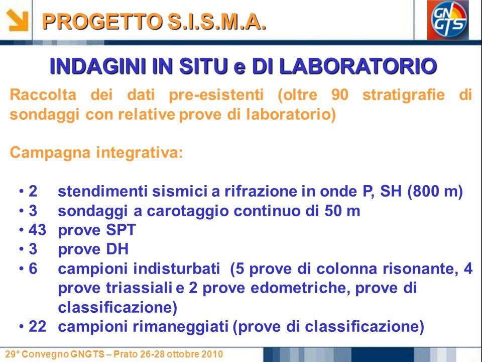 29° Convegno GNGTS – Prato 26-28 ottobre 2010 INDAGINI IN SITU e DI LABORATORIO PROGETTO S.I.S.M.A.