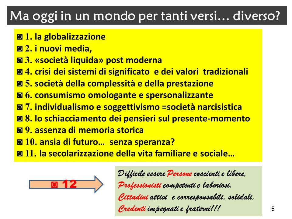 ◙ 1. la globalizzazione ◙ 2. i nuovi media, ◙ 3. «società liquida» post moderna ◙ 4. crisi dei sistemi di significato e dei valori tradizionali ◙ 5. s