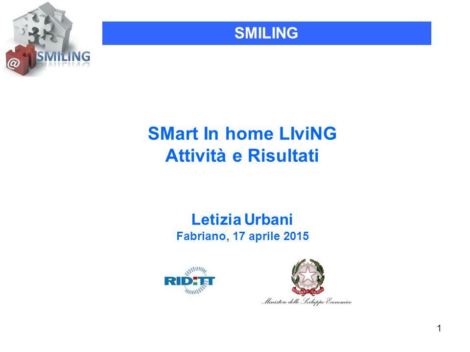 1 SMart In home LIviNG Attività e Risultati Letizia Urbani Fabriano, 17 aprile 2015 SMILING