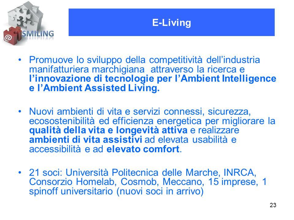 23 Promuove lo sviluppo della competitività dell'industria manifatturiera marchigiana attraverso la ricerca e l'innovazione di tecnologie per l'Ambient Intelligence e l'Ambient Assisted Living.